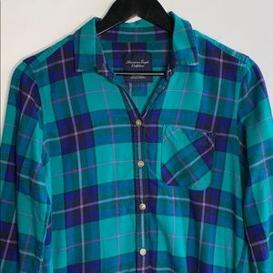 American Eagle Women's Green and Blue Flannel Top